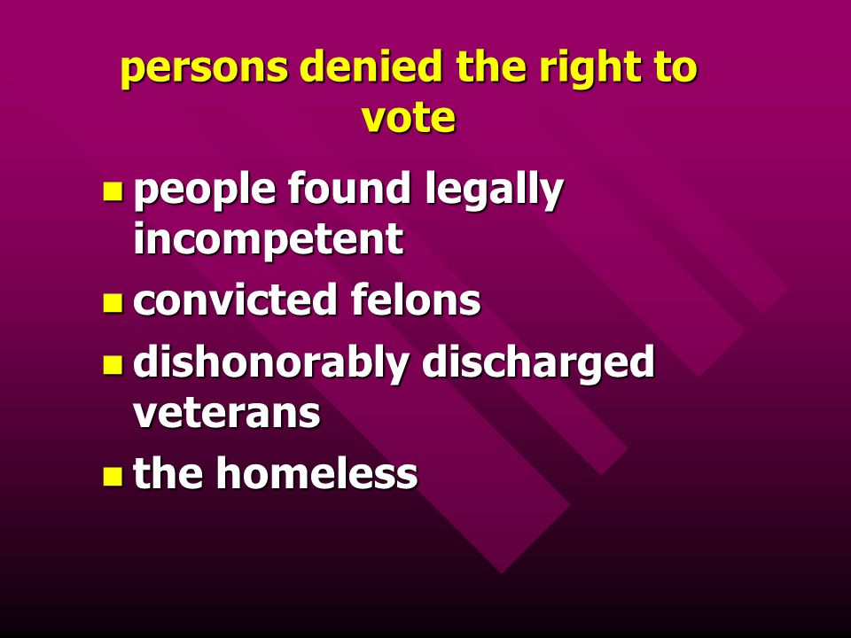 persons denied the right to vote