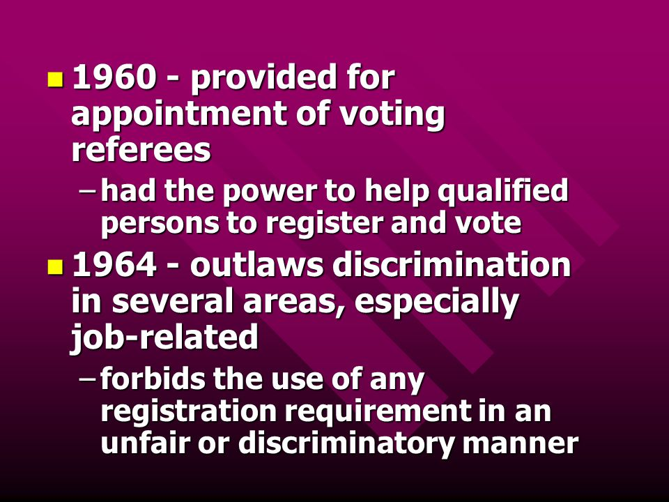 1960 - provided for appointment of voting referees