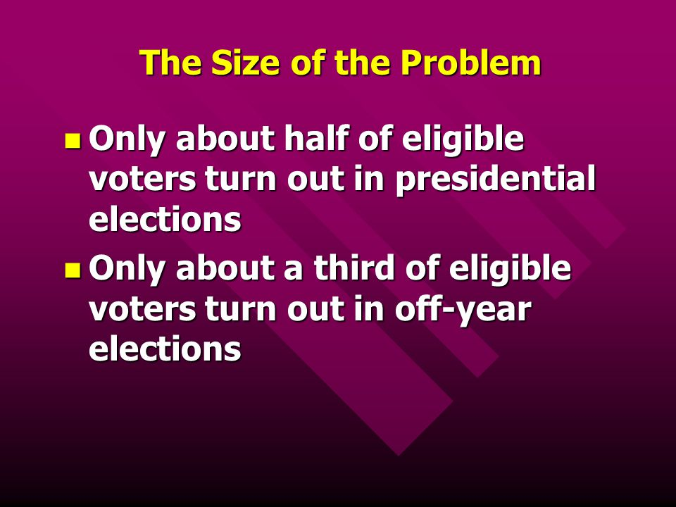 The Size of the Problem Only about half of eligible voters turn out in presidential elections.