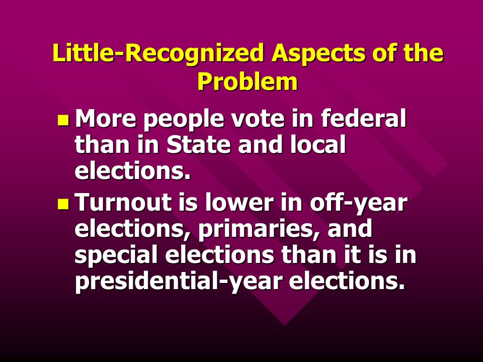 Little-Recognized Aspects of the Problem