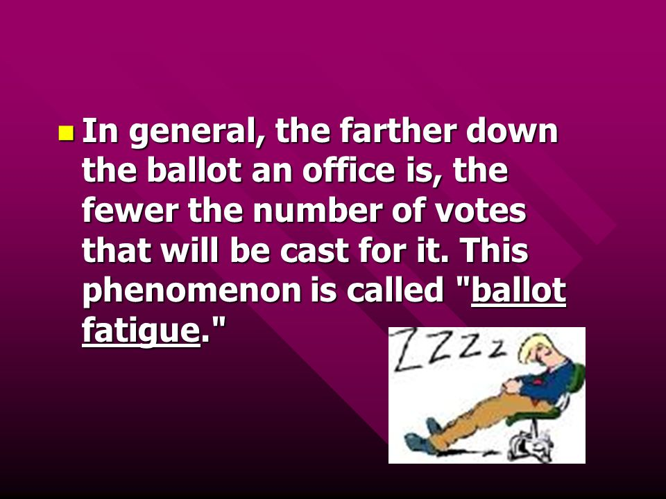 In general, the farther down the ballot an office is, the fewer the number of votes that will be cast for it.