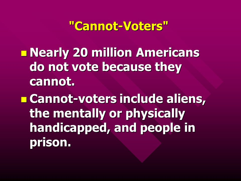 Cannot-Voters Nearly 20 million Americans do not vote because they cannot.