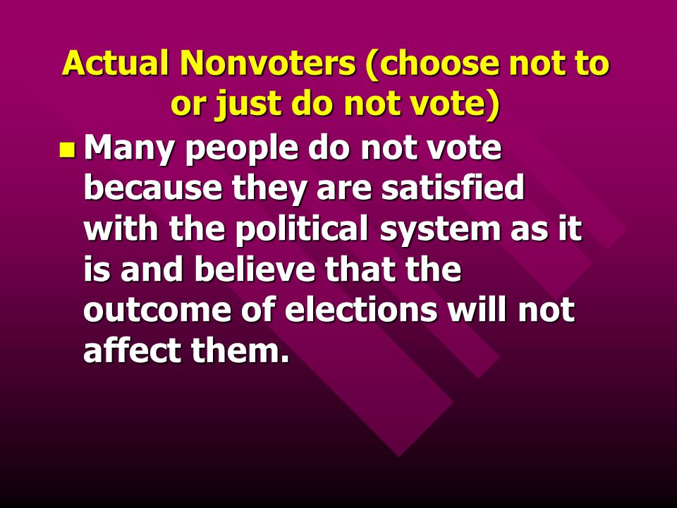 Actual Nonvoters (choose not to or just do not vote)