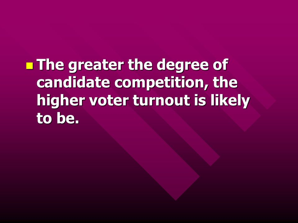The greater the degree of candidate competition, the higher voter turnout is likely to be.