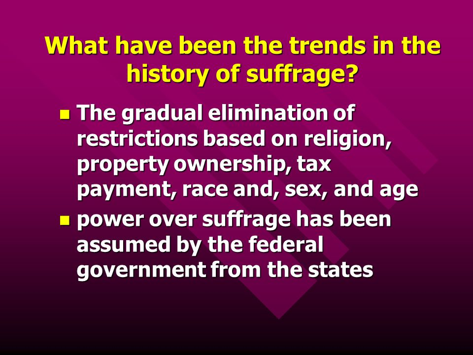 What have been the trends in the history of suffrage