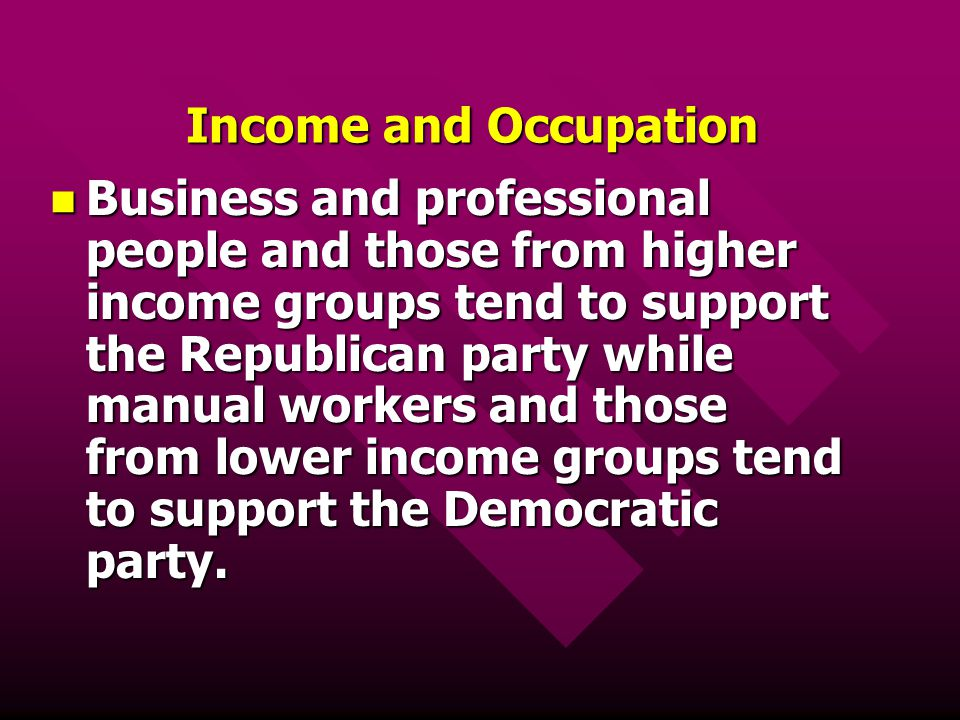 Income and Occupation