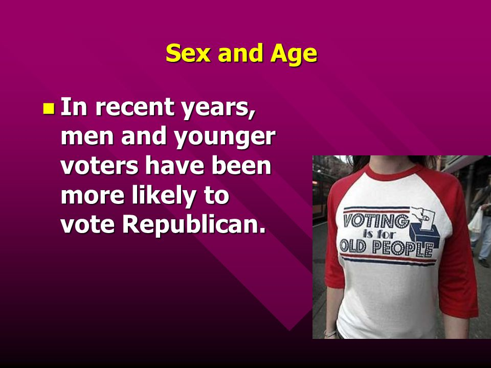 Sex and Age In recent years, men and younger voters have been more likely to vote Republican.
