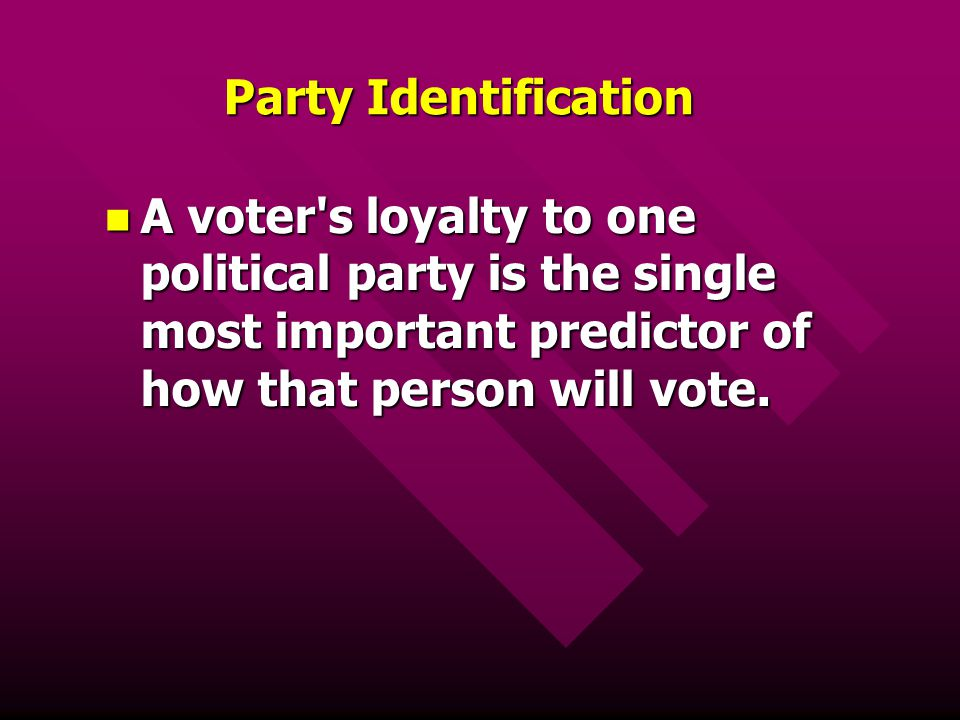 Party Identification A voter s loyalty to one political party is the single most important predictor of how that person will vote.