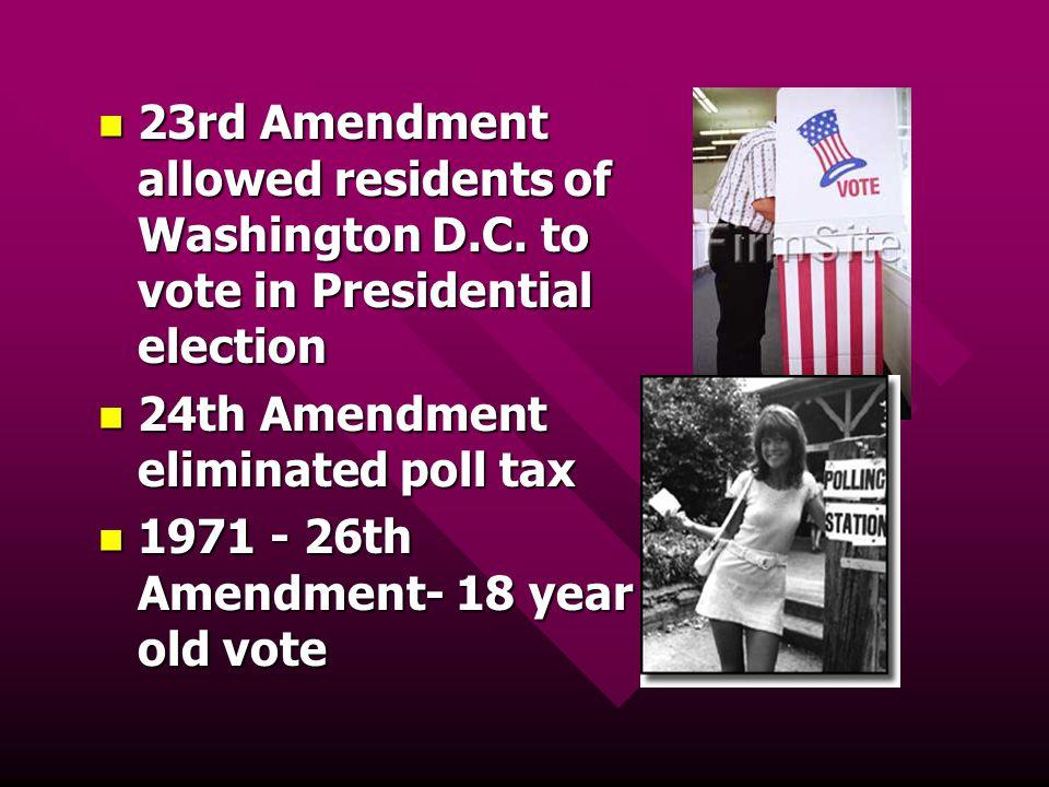 23rd Amendment allowed residents of Washington D. C
