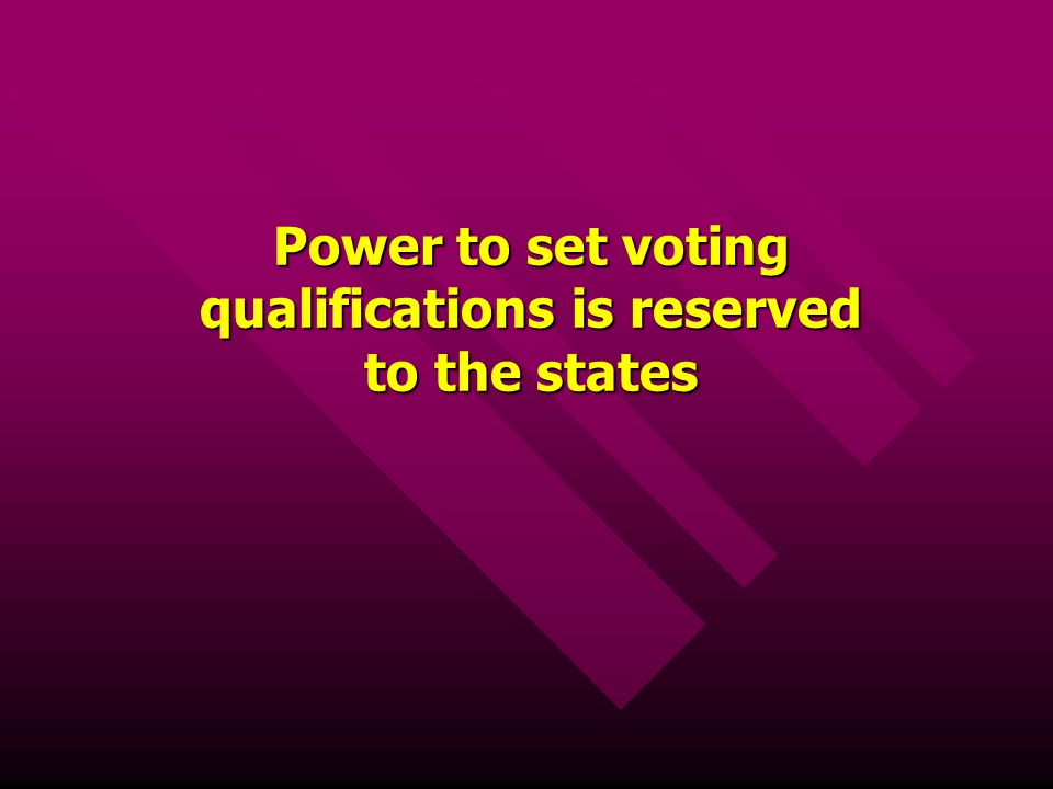 Power to set voting qualifications is reserved to the states