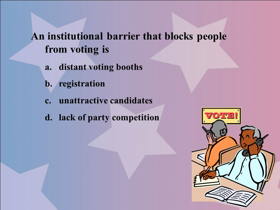 An institutional barrier that blocks people from voting is