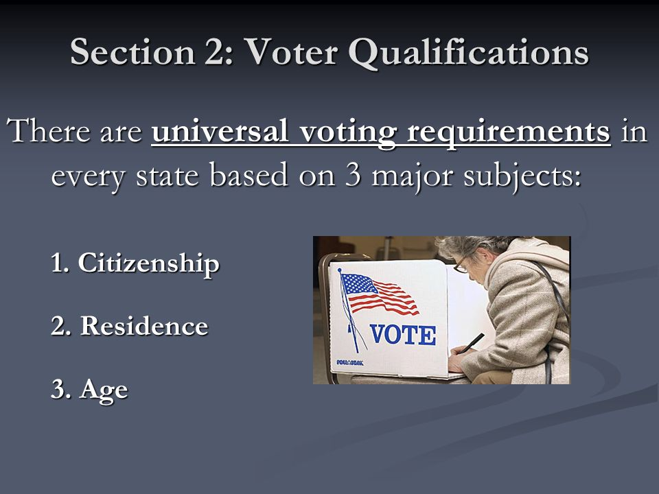 Section 2: Voter Qualifications