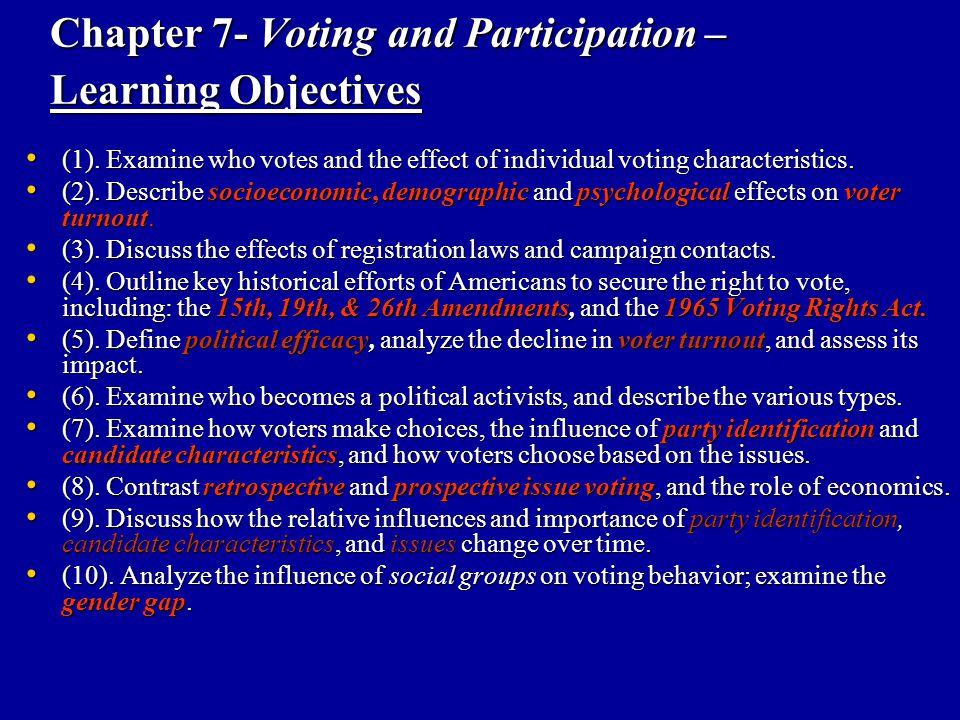 Chapter 7- Voting and Participation – Learning Objectives