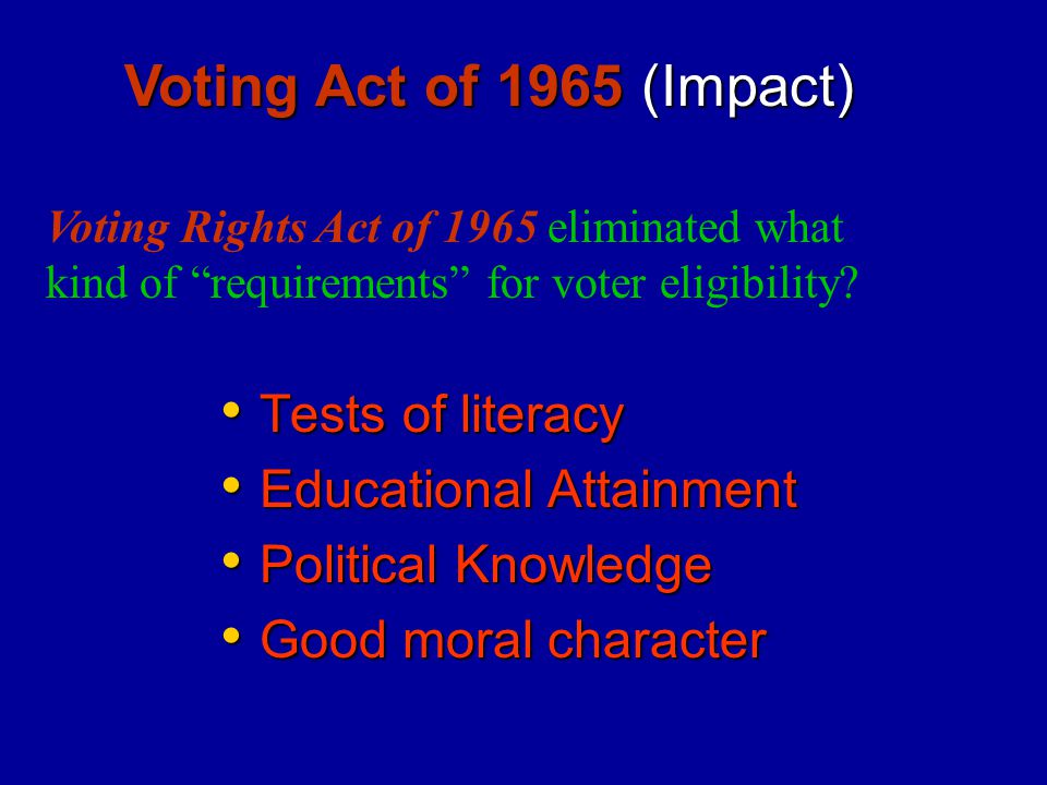 Voting Act of 1965 (Impact) Tests of literacy Educational Attainment