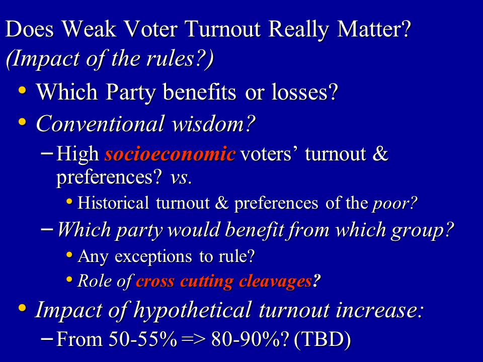 Does Weak Voter Turnout Really Matter (Impact of the rules )