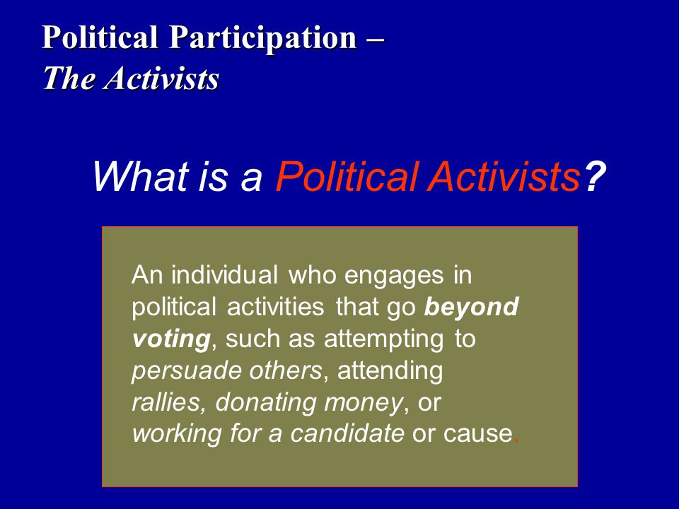 Political Participation – The Activists