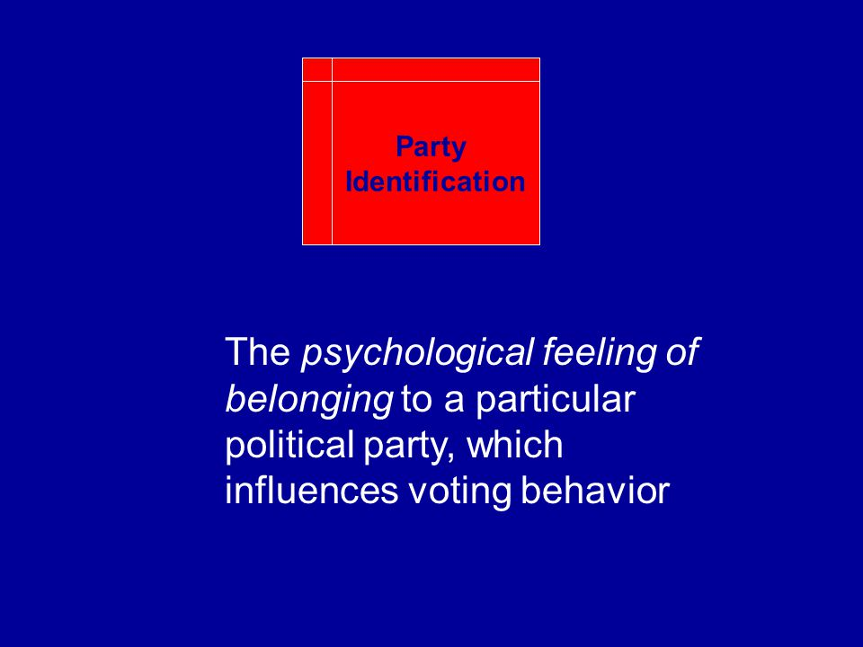 The psychological feeling of belonging to a particular political party, which influences voting behavior