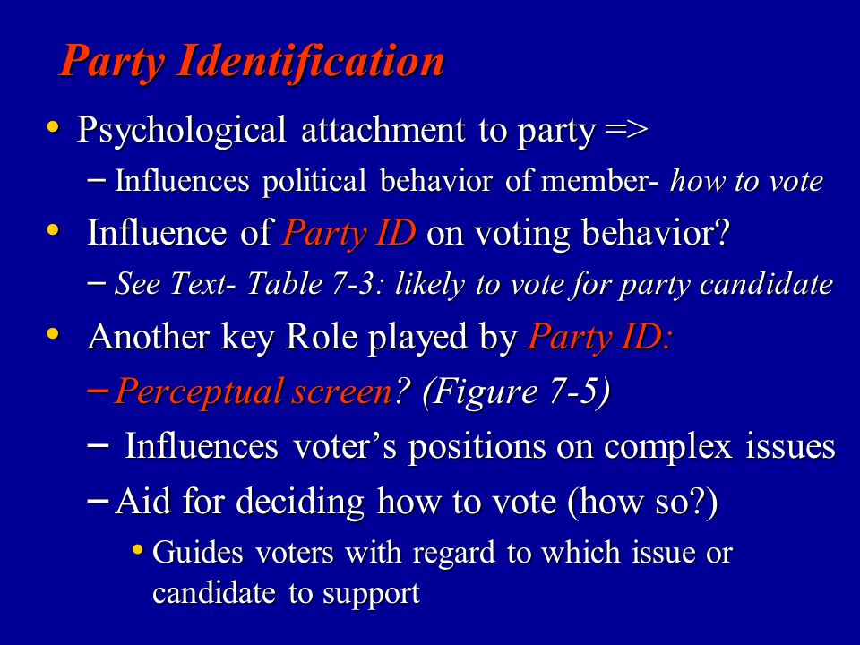 Party Identification Psychological attachment to party =>