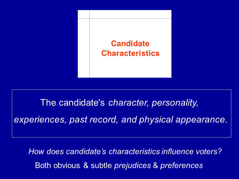 The candidate s character, personality,
