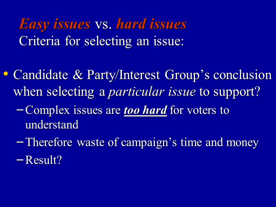 Easy issues vs. hard issues Criteria for selecting an issue: