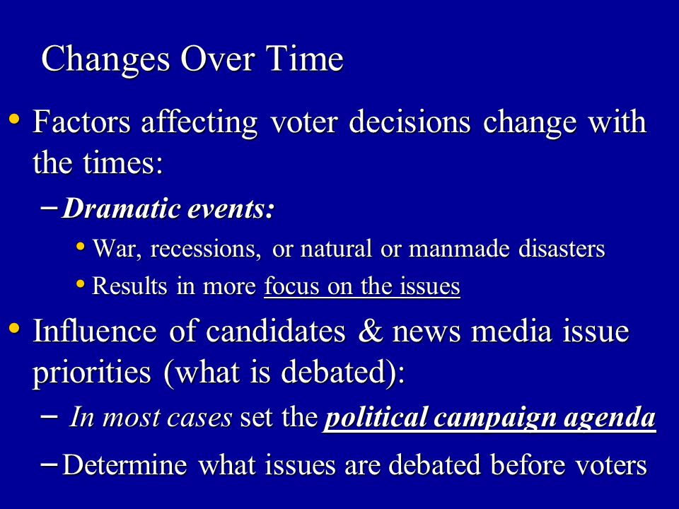 Changes Over Time Factors affecting voter decisions change with the times: Dramatic events: War, recessions, or natural or manmade disasters.