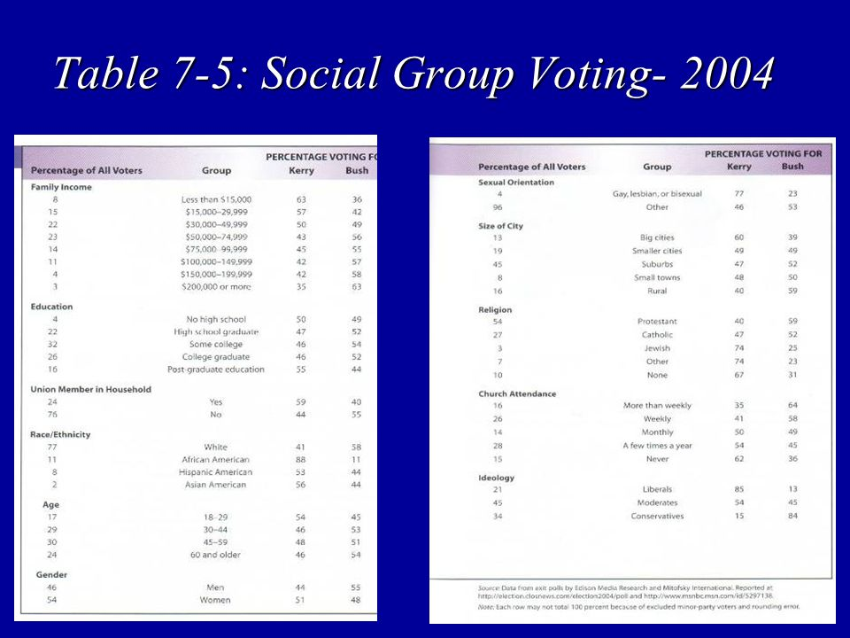 Table 7-5: Social Group Voting- 2004