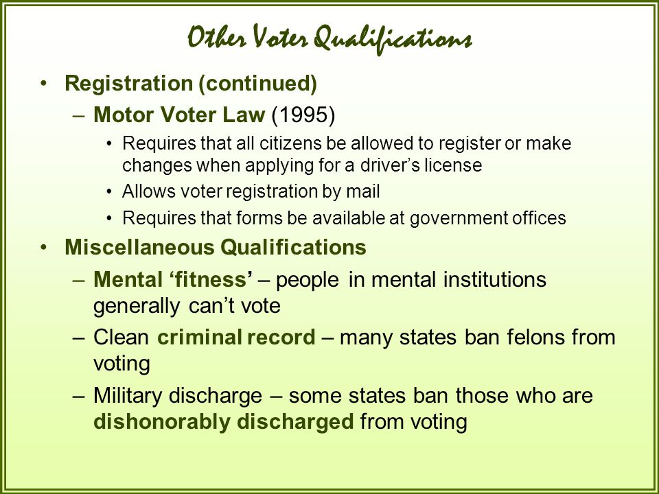 Other Voter Qualifications