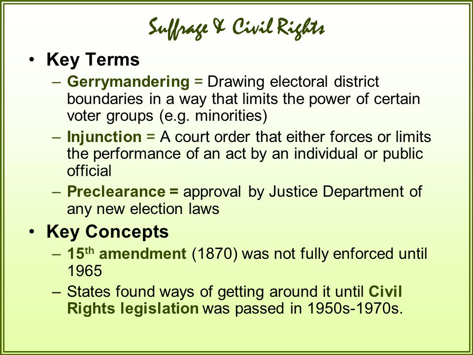 Suffrage & Civil Rights