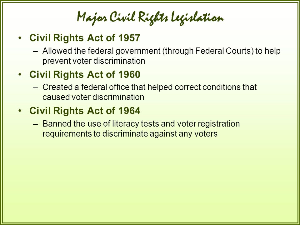 Major Civil Rights Legislation