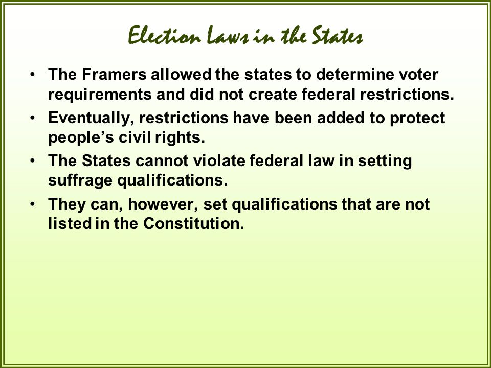 Election Laws in the States
