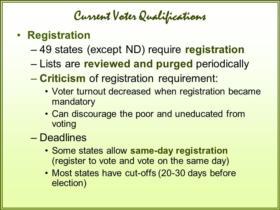 Current Voter Qualifications