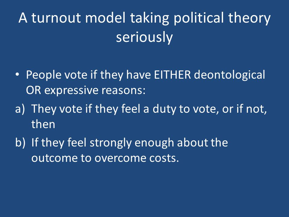 A turnout model taking political theory seriously