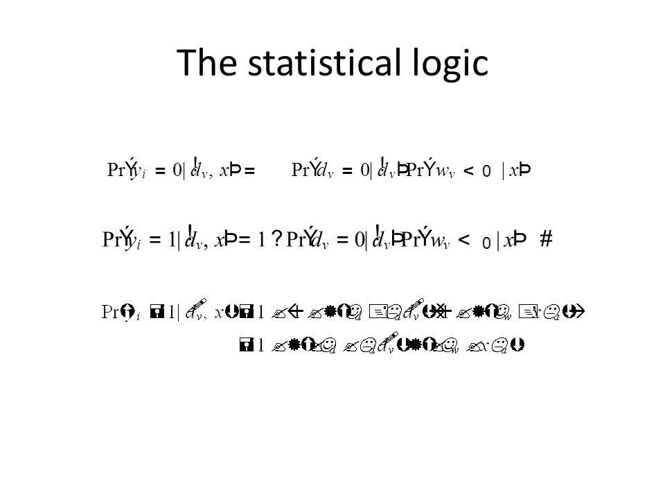 The statistical logic Pr Ý y = 1 | d ! , x Þ w < # Pr Ý y = | d !