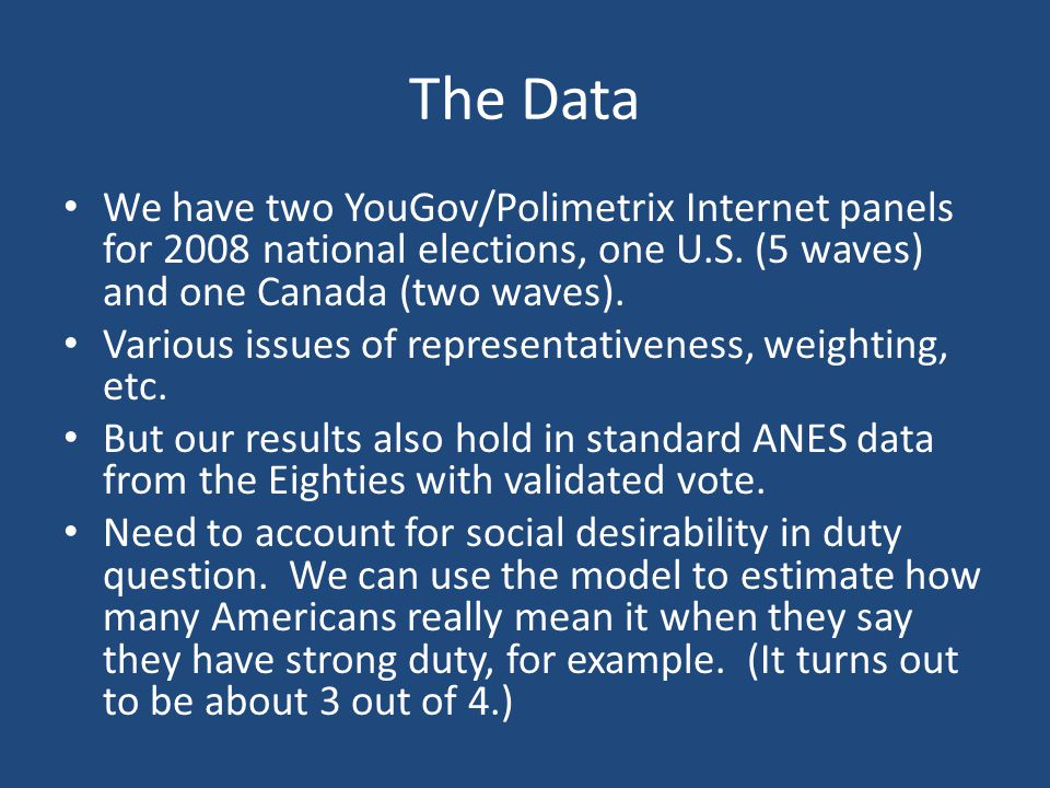 The Data We have two YouGov/Polimetrix Internet panels for 2008 national elections, one U.S. (5 waves) and one Canada (two waves).