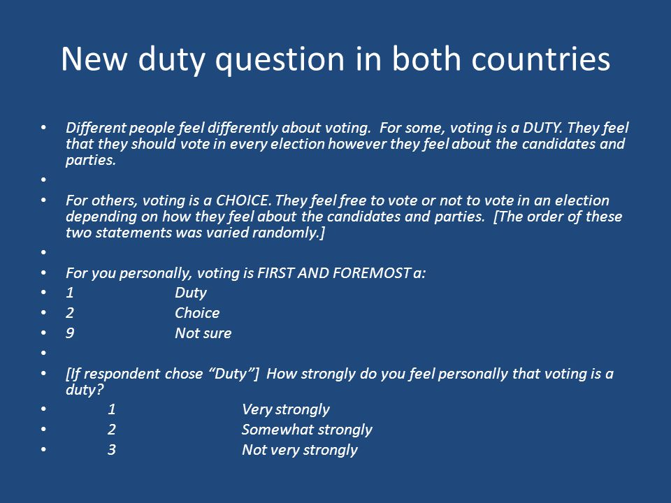 New duty question in both countries
