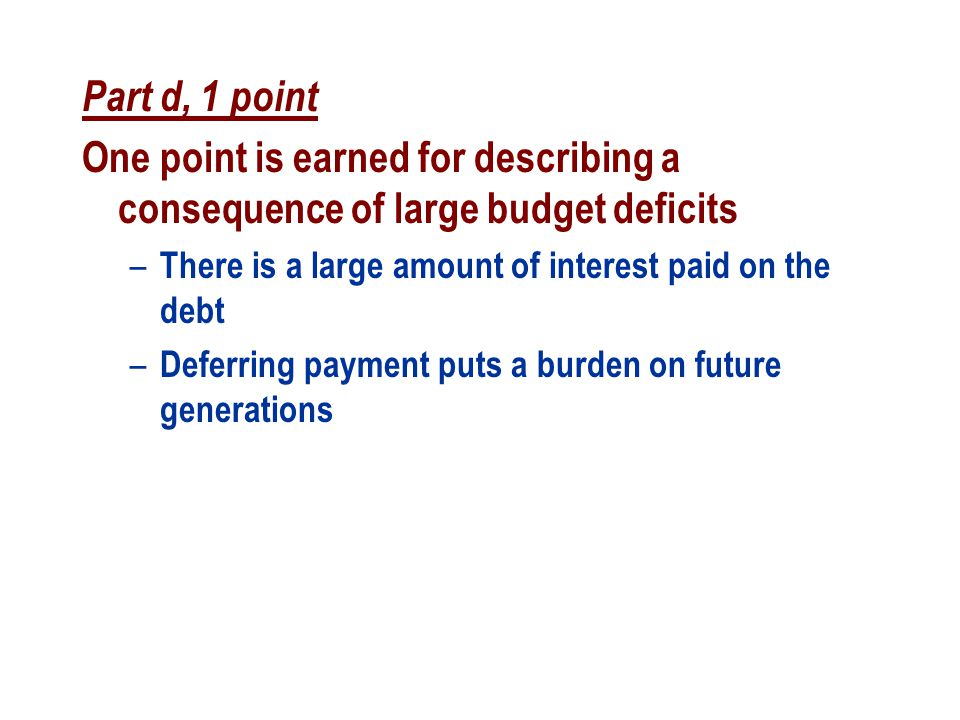 Part d, 1 point One point is earned for describing a consequence of large budget deficits. There is a large amount of interest paid on the debt.