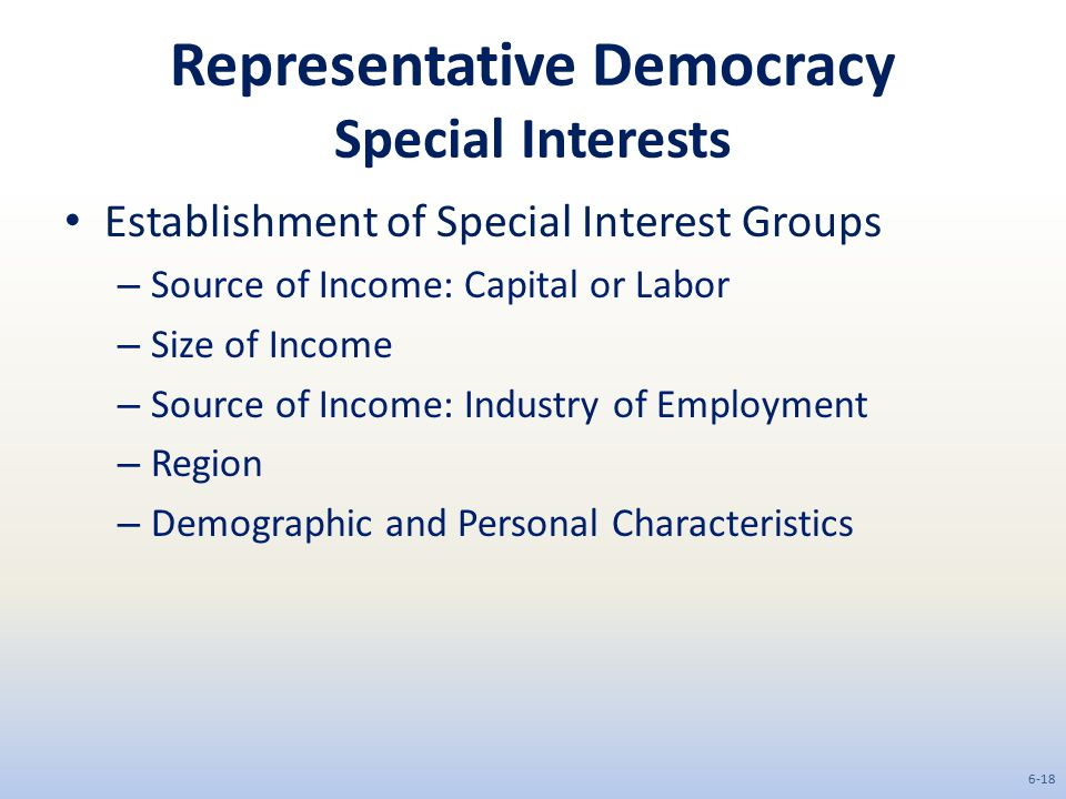 Representative Democracy Special Interests