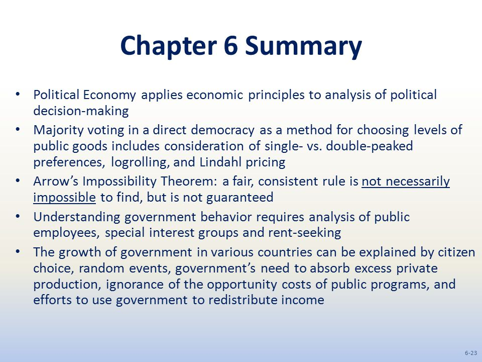 Chapter 6 Summary Political Economy applies economic principles to analysis of political decision-making.