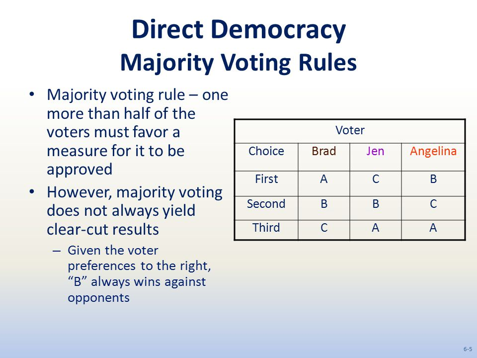 Direct Democracy Majority Voting Rules