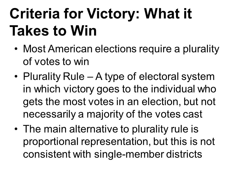 Criteria for Victory: What it Takes to Win