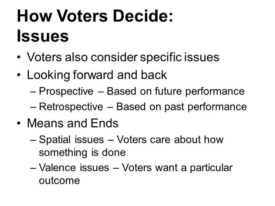 How Voters Decide: Issues