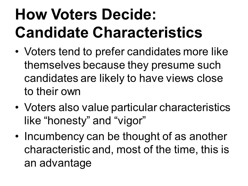 How Voters Decide: Candidate Characteristics