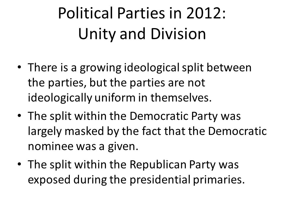 Political Parties in 2012: Unity and Division