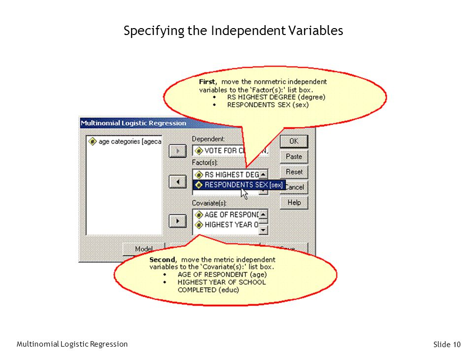 Specifying the Independent Variables