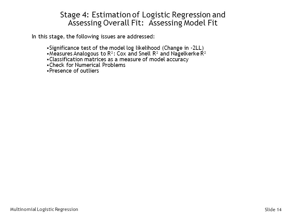 Stage 4: Estimation of Logistic Regression and Assessing Overall Fit: Assessing Model Fit