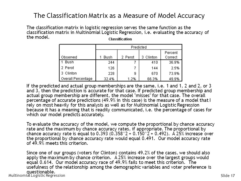 The Classification Matrix as a Measure of Model Accuracy