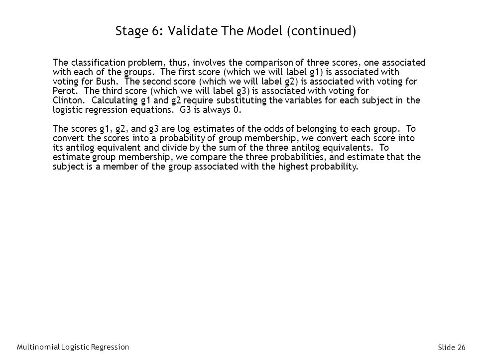 Stage 6: Validate The Model (continued)
