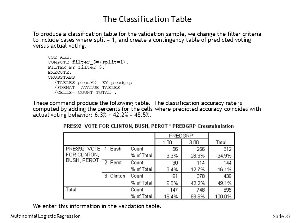 The Classification Table