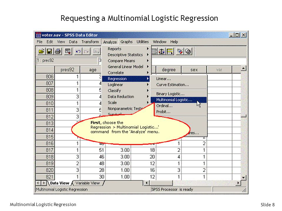 Requesting a Multinomial Logistic Regression