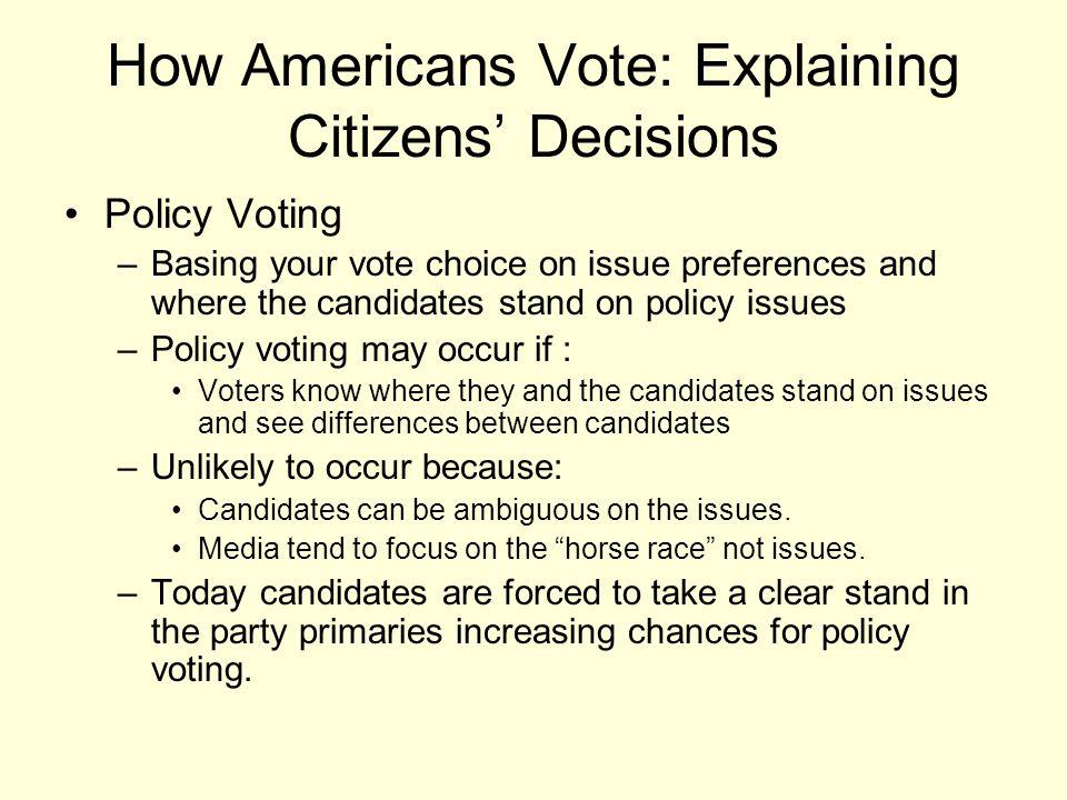 How Americans Vote: Explaining Citizens' Decisions